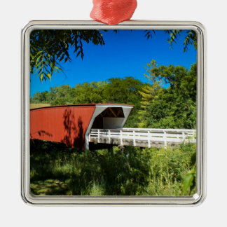 Cedar  Bridge Silver-Colored Square Ornament