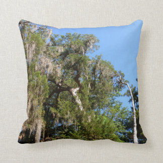 cedar covered in spanish moss throw pillow