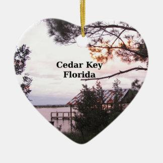 Cedar Key Florida Ceramic Heart Ornament