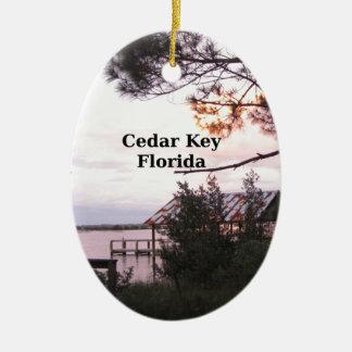 Cedar Key Florida Ceramic Oval Ornament