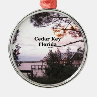 Cedar Key Florida Silver-Colored Round Ornament