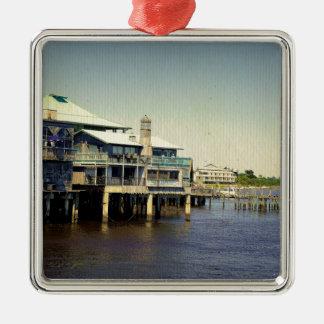 Cedar Key Marina Silver-Colored Square Ornament