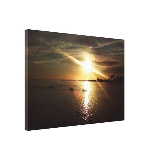 Cedar Key Sunset Kayakers Canvas Print