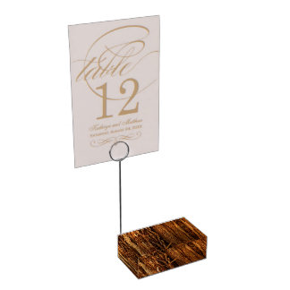 Cedar Textured Wooden Bark Look Table Card Holder