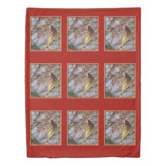 Cedar Waxwing Bird Animal Art Pattern Duvet Cover