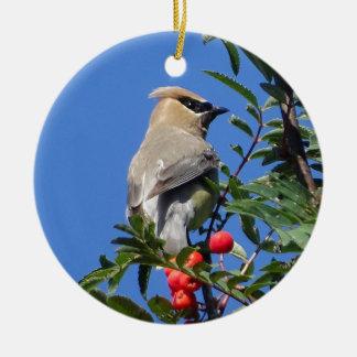 Cedar Waxwing Ceramic Ornament