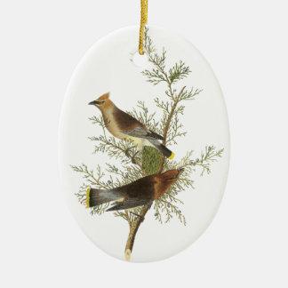 Cedar Waxwing, John Audubon Ceramic Oval Ornament
