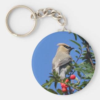 Cedar Waxwing Keychain