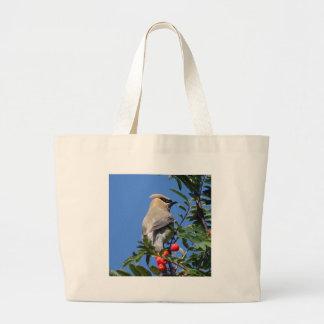 Cedar Waxwing Large Tote Bag