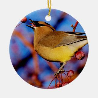 Cedar Waxwing Round Ceramic Ornament
