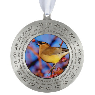 Cedar Waxwing Round Pewter Ornament