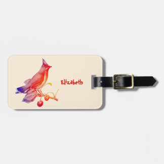 Cedar Waxwing Transparent Bird Luggage Tag