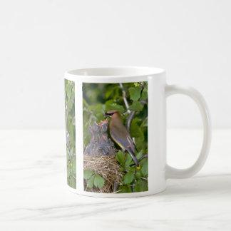 Cedar Waxwing with nestlings Coffee Mug