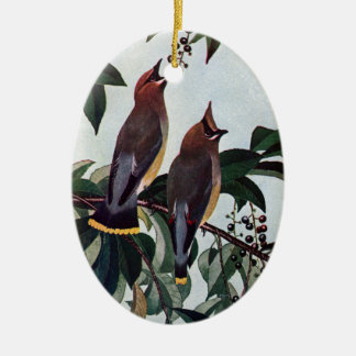 Cedar Waxwings in a Wild Black Cherry Tree Ceramic Oval Ornament