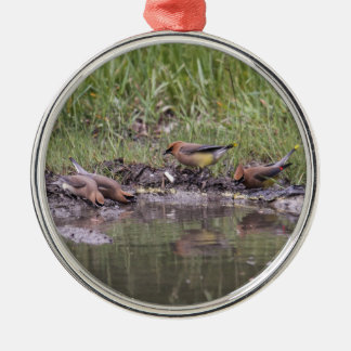 Cedar Waxwings Silver-Colored Round Ornament