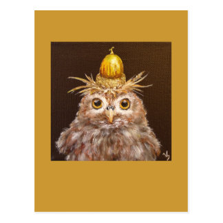 Cedric the baby owl with chinkapin acorn hat postcard