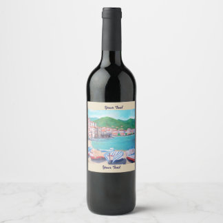 Cefalu Beach,  Wine (or Champagne) Bottle Labels