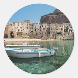 Cefalu town in Sicily Classic Round Sticker