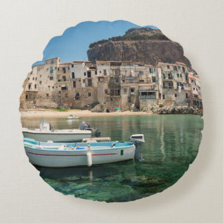 Cefalu town in Sicily Round Pillow