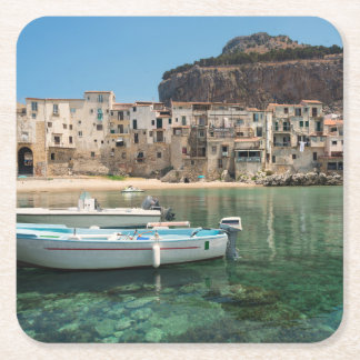 Cefalu town in Sicily Square Paper Coaster