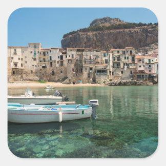 Cefalu town in Sicily Square Sticker