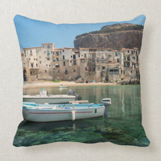 Cefalu town in Sicily Throw Pillow