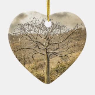 Ceiba Tree at Forest Guayas Ecuador Ceramic Heart Ornament
