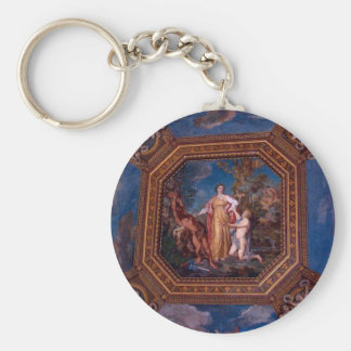 Ceiling in the Vatican in Rome, Italy Basic Round Button Keychain