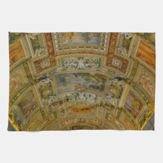 Ceiling in the Vatican Museum in Rome Italy Hand Towel