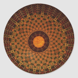 Ceiling of a Chinese temple Classic Round Sticker