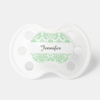 Celadon and White Elegant Damask Pattern BooginHead Pacifier