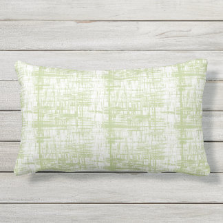 Celadon and White Outdoor Lumbar Throw Pillow
