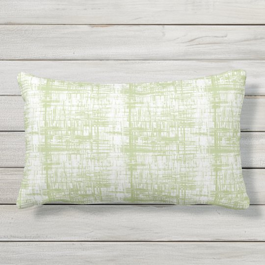 Celadon and White Outdoor Lumbar Throw Pillow