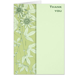 Celadon Green Botanical Floral Thank You Note Card