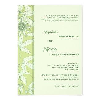 Celadon Green Botanical  Floral Wedding Invitation