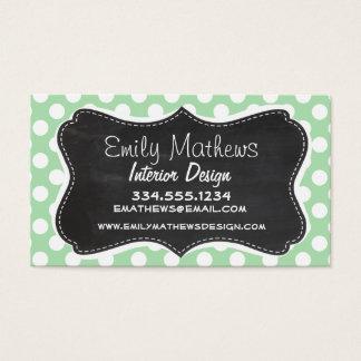 Celadon Green Polka Dots; Chalkboard look Business Card