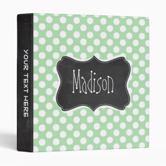 Celadon Green Polka Dots; Chalkboard look Vinyl Binders