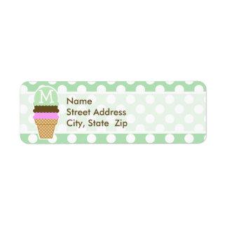 Celadon Green Polka Dots; Ice Cream Cone