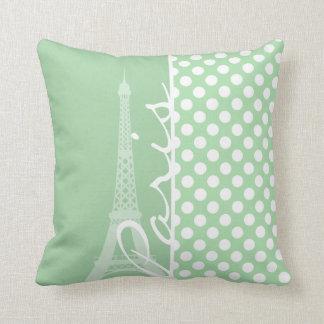 Celadon Green Polka Dots; Paris Throw Pillow