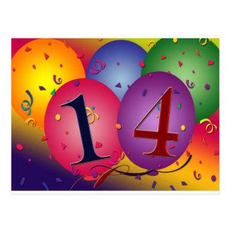 Celebrate 14th Birthday Postcard