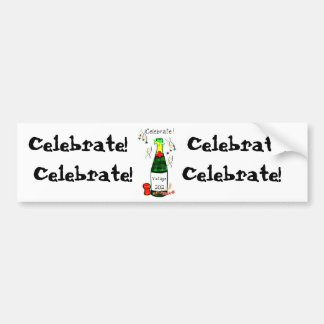 CELEBRATE! 2012 CHAMPAGNE BOTTLE PRINT BUMPER STICKER