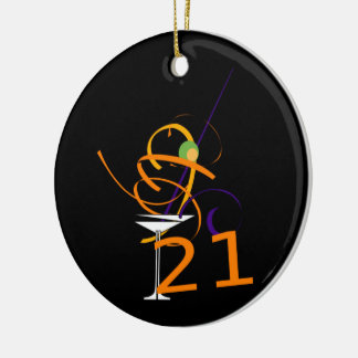 Celebrate 21ST Cocktail Ceramic Ornament
