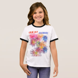 Celebrate 4th of July with Fireworks Ringer T-Shirt