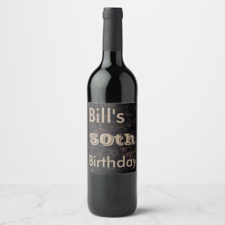 Celebrate 50th Birthday Black and Brown Wine Label