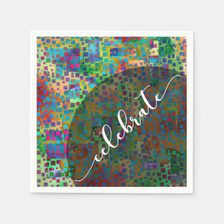 Celebrate: Abstract Colorful Confetti Graduation Disposable Napkins