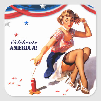 Celebrate America. 4th of July Pin-up Stickers