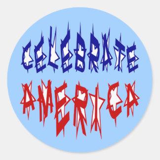 Celebrate America Flag Font #2 Classic Round Sticker