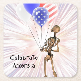 Celebrate America Square Paper Coaster