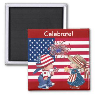 Celebrate American Flag Square Magnet