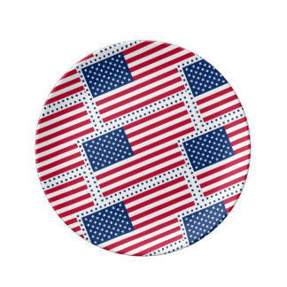 Celebrate American US Flag Porcelain Plate